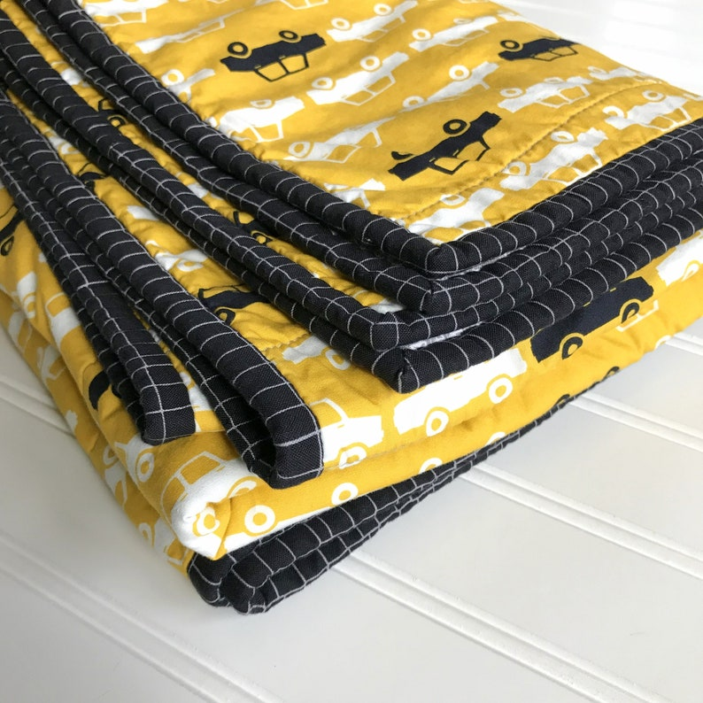 modern baby boy quilt crib blanket wholecloth taxi cab car vehicles toddler yellow gray grey wheels Black White and Yellow Cars Baby Quilt