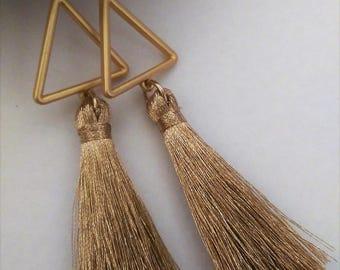Gold tassel dangle earrings