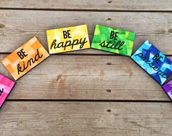 Positive wall art, positive quotes wall art, inspiring wood signs, rainbow signs, rainbow wood sign, classroom decor, craft room decor