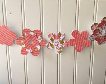Pink flower banner, pink paper banner, flower banner, pink paper flower garland, spring banner, spring decor, party decor, kids room decor