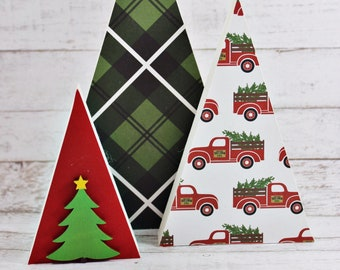 Holiday wood trees, triangle wood trees, modern wood decor, holiday decor, Christmas trees, holiday party decorations, simple holiday decor