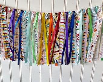 Classroom garland, classroom decor, school garland, fabric garland, classroom gift, teacher gift, back to school decor, crayon garland