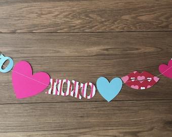 Valentine banner, paper banner, paper garland, Valentine garland, whimsical valentine banner, Valentine decor, party decor, photo backdrop