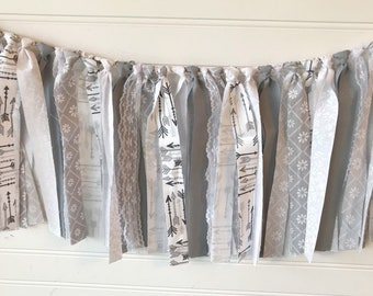 Grey and white decor, grey and white party decor, grey and white nursery decor, baby shower decor, high chair banner, fabric garland