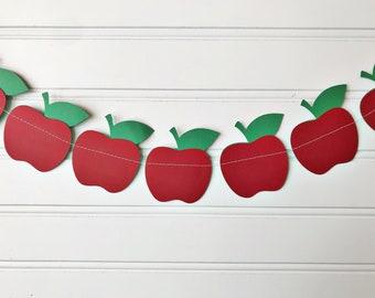 Apple paper banner, apple garland, apple decor, back to school garland, classroom banner, mantle decor, photo prop, shelf decor, apple party