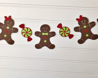 Gingerbread paper banner, Christmas paper decor, Christmas decor, Gingerbread banner, gingerbread decor, photo prop, Christmas paper garland