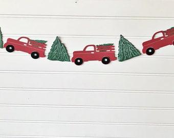 Christmas truck banner, Christmas paper decor, Christmas decor, Truck banner, farmhouse decoration, photo prop, mantle decor, Little truck