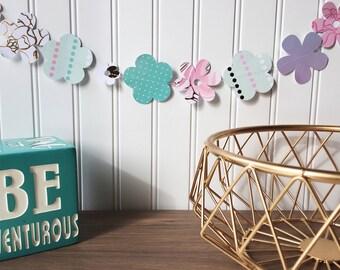 Spring decor, spring flower decor, farmhouse decor, spring banner, spring flower banner, paper flower decor, floral party decor