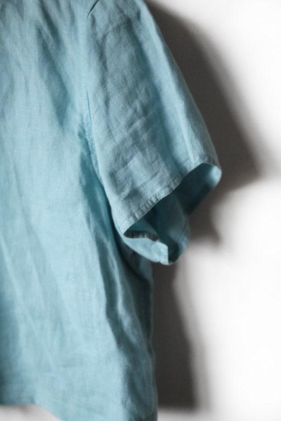 Linen Top | Woman's Vintage | Aqua - image 4