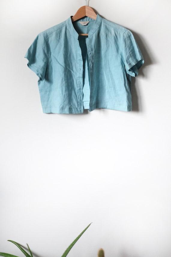 Linen Top | Woman's Vintage | Aqua - image 5