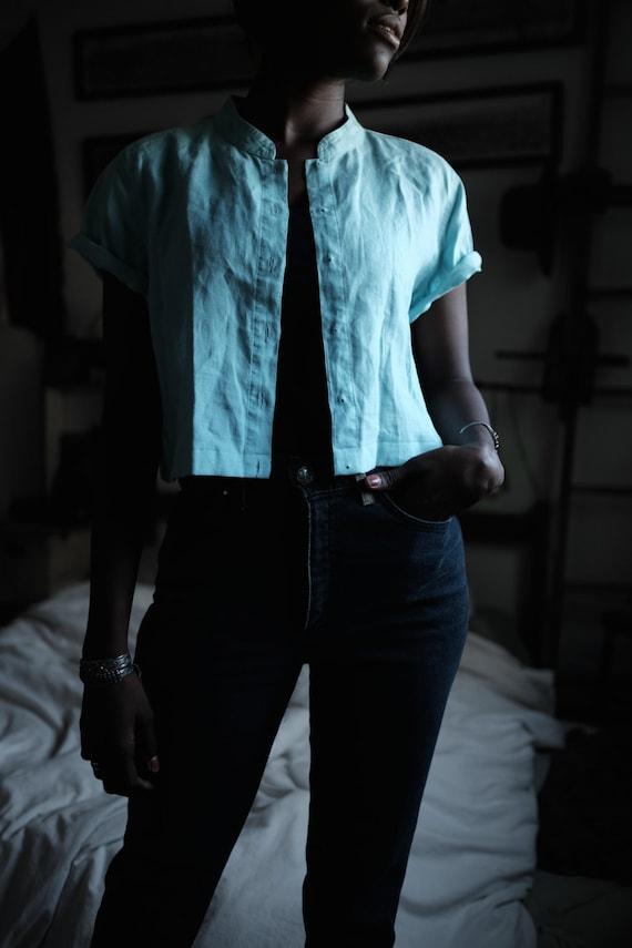 Linen Top | Woman's Vintage | Aqua - image 1