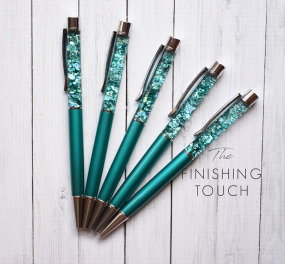 Floating fillable glitter pens turquoise