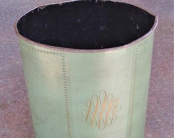 Vintage Avocado Green with Gold Mid Century Vanity Wastebasket Trash Can
