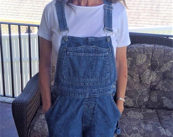Vintage  GAP Dungarees Denim Overall Shorts - Size Large