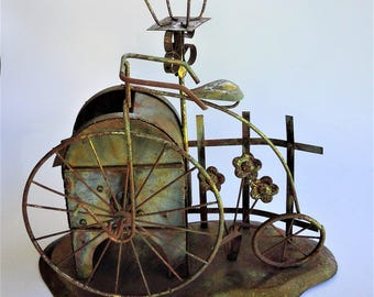 Vintage Copper Coated Tin Bicycle Mailbox Lightpole Music Box