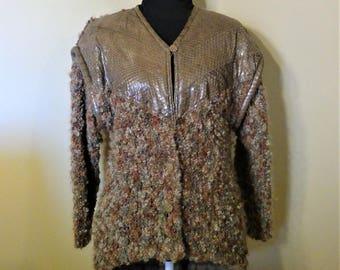 Vintage Steven Shatz Snakeskin Upper Cardigan Sweater