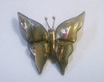 Vintage Modern Mexico Sterling and Abalone Butterfly Brooch