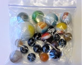 Vintage Glass Assorted Size and Colors Marbles - Bag of 23