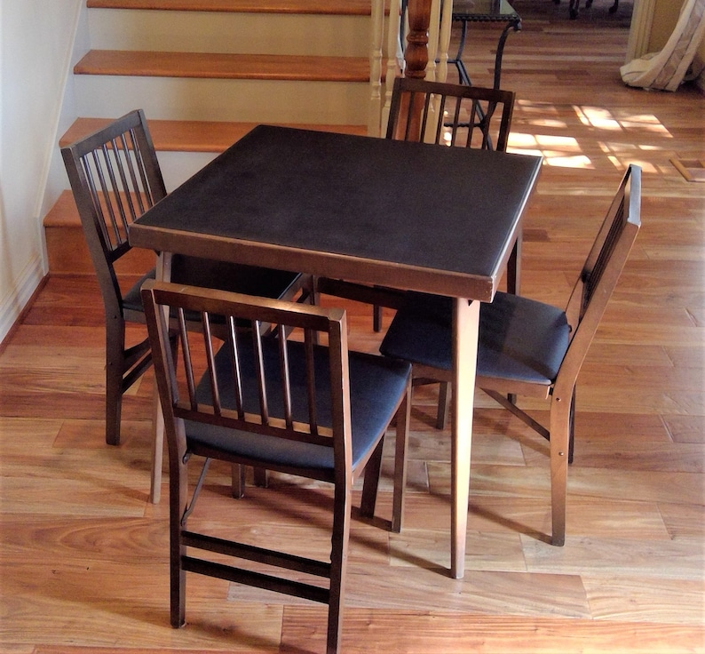 Vintage Stakmore Solid Wood Folding Table And Four Chairs Bridge Table Card Table