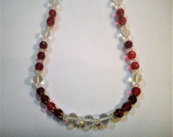Vintage Red and Clear Glass Bead Necklace