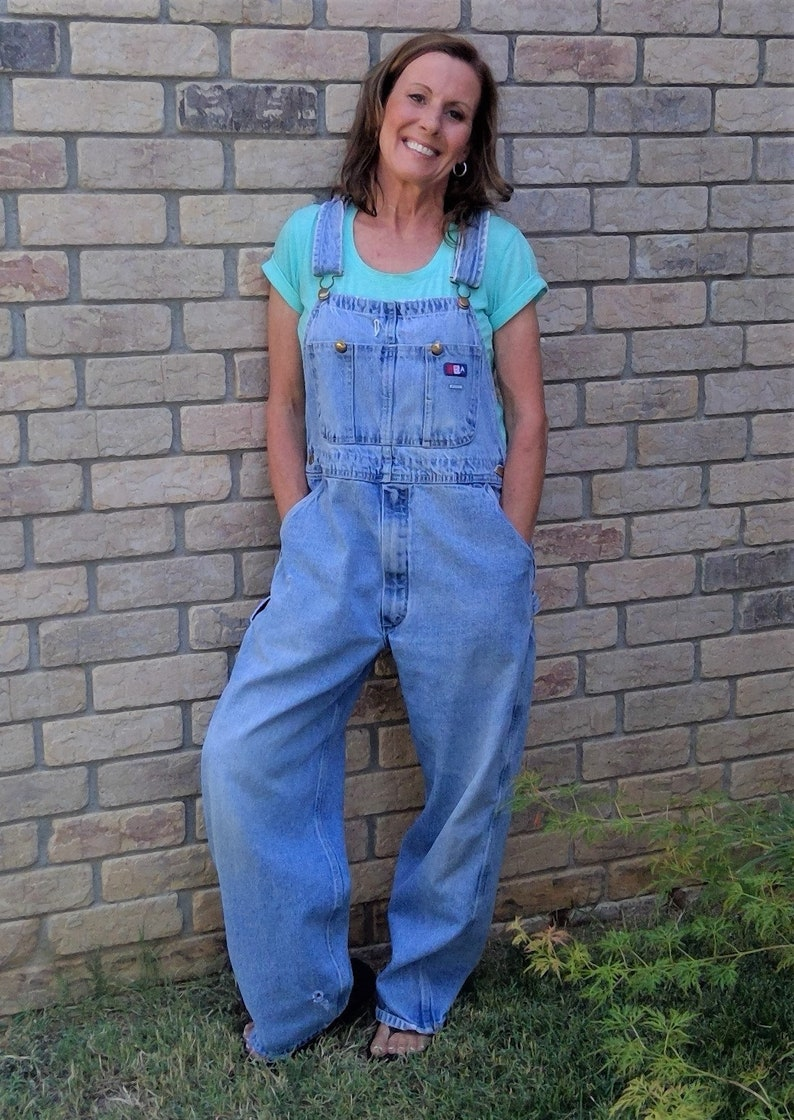 09e36ace253e Vintage USA WORKS Distressed Unisex Zip Fly Dungarees Denim