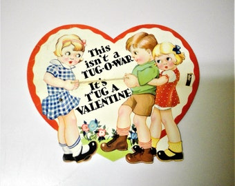 Vintage 1939 Valentine Card - This isn't a Tug-O-War It's T'ug a Valentine