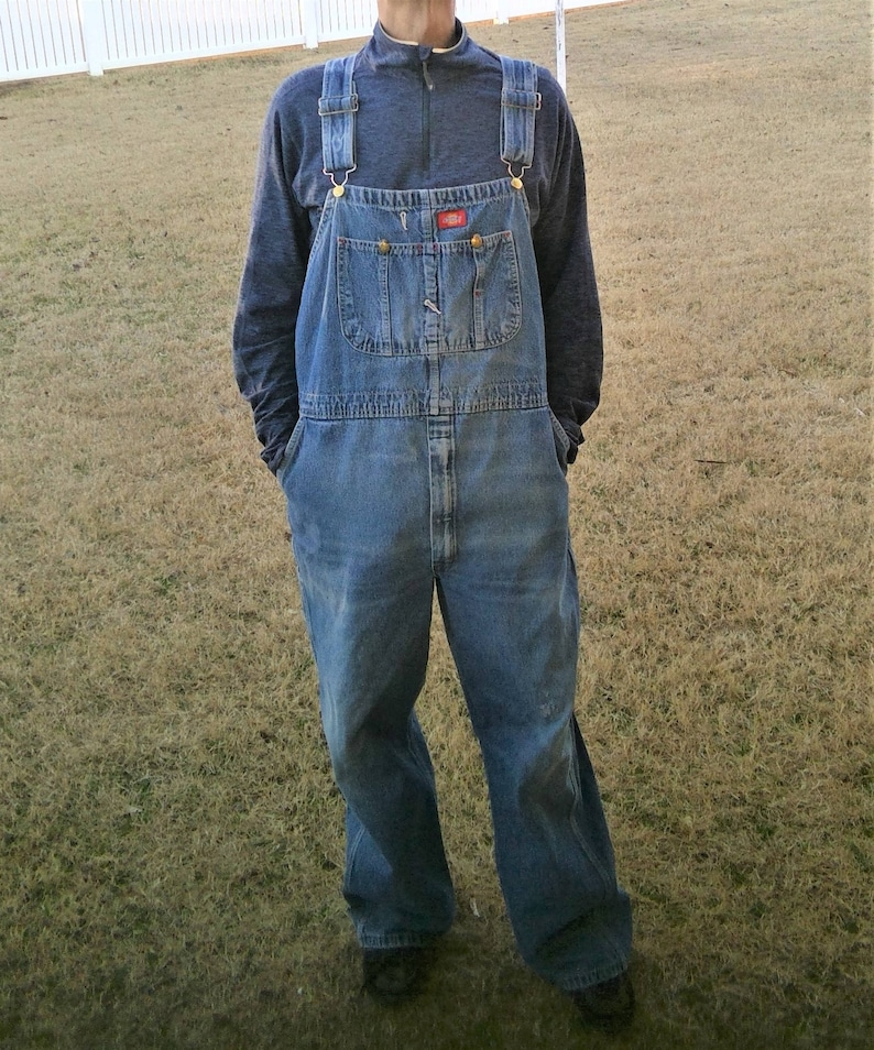 0b92e93bdfad Vintage Dickies Distressed Zip Fly Dungarees Denim Overalls