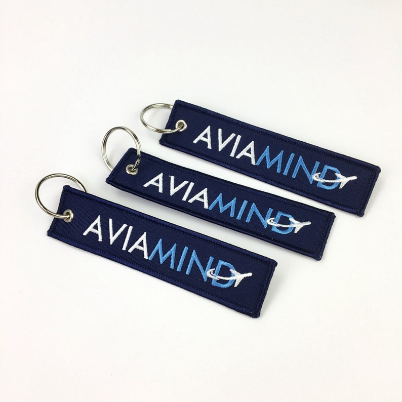 30pcs Wholesale custom Cheap black keychain with your Design, Custom Brand  Name Logo Embroidery Fabric Airplane Keychains