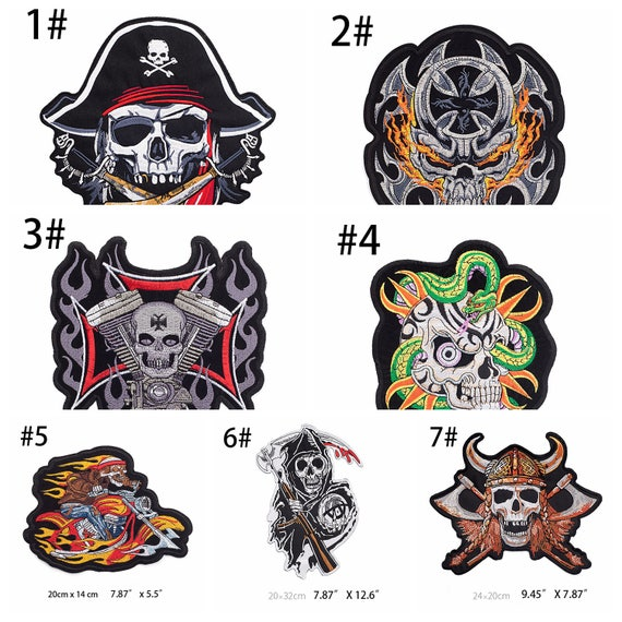 big skull patches iron on, skull patch military, skull iron on patches  wholesale