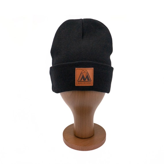 Custom leather patch logo Black Winter Beanie acrylic Beanie  c89ac25446e