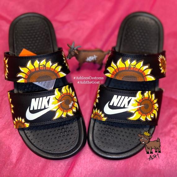 Sunflower Nike duo slides | Etsy