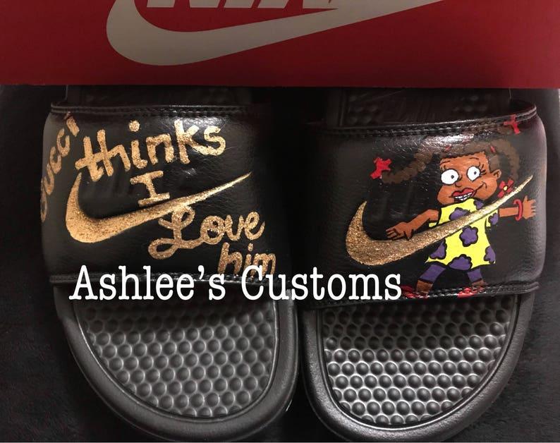 311369c621da Susie Gucci thinks I love him Nike Slides | Etsy