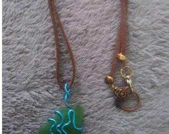 Bright Green Sea Glass Pendant