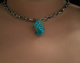 Choker Style Chain With Sea Glass Pendant