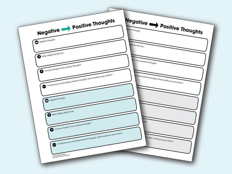Printable Negative to Positive Thinking image 0