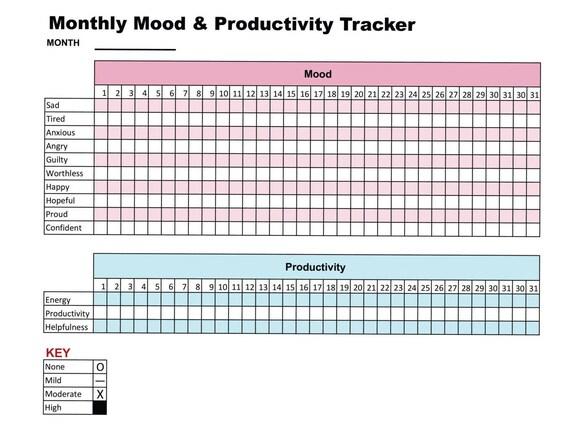 Printable Mood & Productivity Tracker