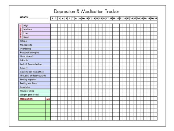 printable depression tracker with sections for medication