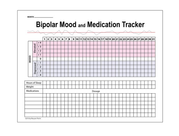 Printable Tracker for Depression & Bipolar Mood Medication Weight and Sleep