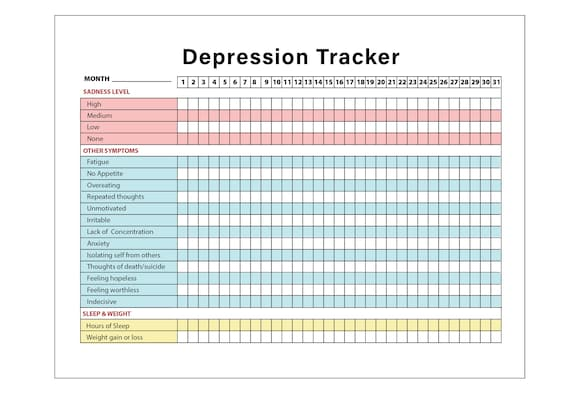 printable depression symptoms sleep and weight tracker etsy
