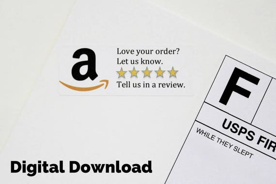 Digital download amazon review sticker printable custom etsy image 0 reheart Gallery