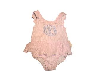 200800ac0e Swimsuit / Seersucker / Bathing Suits / Swimwear / Beach / Personalized /  Monogram / Birthday Gift / Baby / Girls