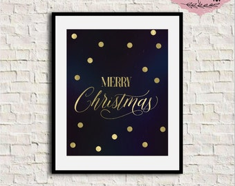 Gold Foil Christmas Card Printable, Merry Christmas Print, Merry Christmas gold foil, Gold Christmas wall art, Christmas printable wall art