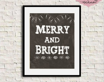 Merry and bright print, Christmas chalkboard print, Merry and bright printable, Christmas chalkboard sign, Christmas wall art, Christmas art