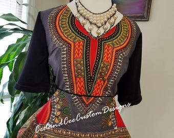 Mixed Dashiki Print Peplum Top