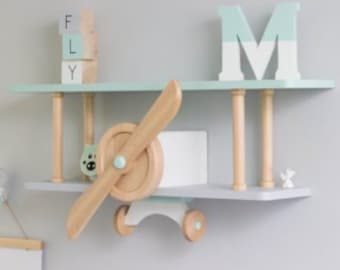 XL Plane Shelf, Airplane Shelf, Baby Room Decoration, Kids Room Decoration,  Shelf, Kidsroom Shelf, Babyroom Shelf, XL Airplane Shelf
