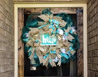 """Beach Blue Summer """"Hello"""" Wreath"""