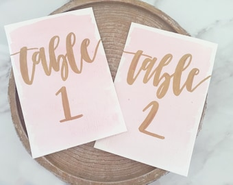 Gold Calligraphy & Watercolor Wedding Table Numbers ~ Gold Ink Calligraphy ~ Watercolor Wedding Calligraphy ~ Table Numbers