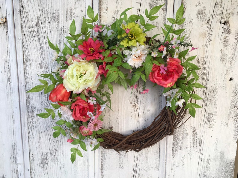 Spring Pink And Green Door Wreath Summer Wreath Easter Etsy