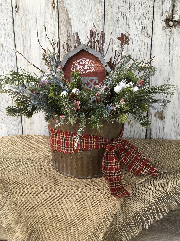 Galvanized Tin With Merry Christmas Barn Primitive