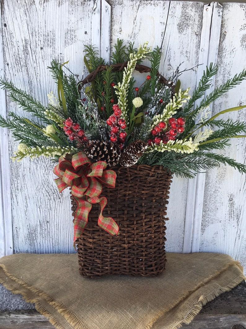 Christmas Basket Door Decor Winter Wall Basket Holiday image 0